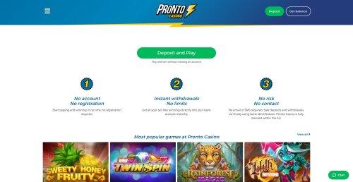 casinooplichters.nl review Pronto casino screenshot
