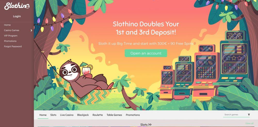 CasinoOplichters.nl review Slothino casino - homepage screenshot oktober 2020