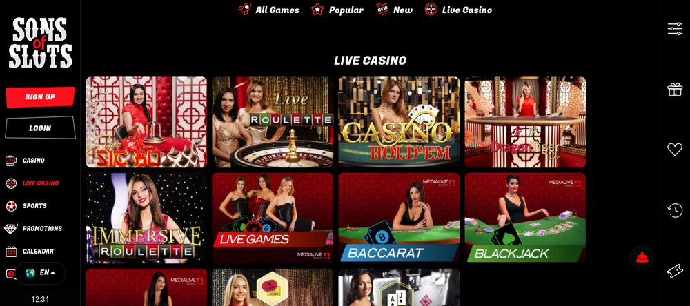 sons of slots live casino review